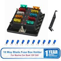 Boîte à Fusible Bloc ATC ATO 10Voie Lame Fusible Porte de Batterie Voiture FR