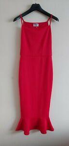 Women`s Red Dress. Size 8. Red Strappy Dress, Split Sides. Sleeveless Dress