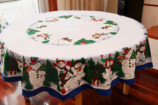 70'' Round Christmas Snowman Tablecloth Table Cover Pine Tree Tablecloth Cotton