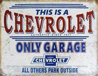 PLAQUE métal USA vintage CHEVROLET ONLY GARAGE - 40 X 30 CM .