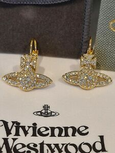Vivienne Westwood gold tone Grace Bas Relief Crystal drop Earrings New Boxed