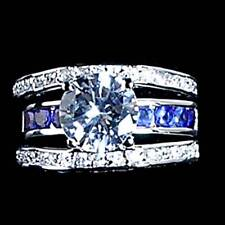 Wedding Set_Sz-5_925 Sterling Silver *Blue Sapphire* simulated Clear Cz
