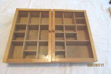 Vintage Wooden Hanging Display Shelf With Glass Doors For Minature Figures