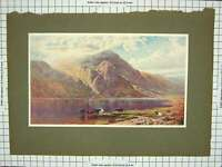 Original Old Antique Print Colour Mountains Lake Cattle