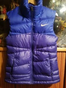 NIKE BLUE & ORANGE LINING DOWN FILL PUFFER/QUILT VEST MEN SIZE S PIT TO PIT 18""