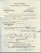 Floyd Speer signed 1954 baseball questionaire 1913-1969 Wringler Collection