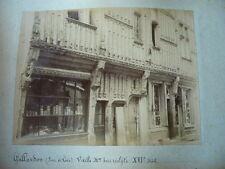 PHOTO ORIGINALE 1887  GALLARDON EURE ET LOIRE 28 VIEILLE MAISON EN BOIS SCULPTE