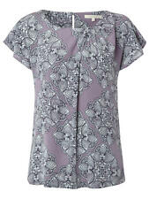 WHITE STUFF Damen Bluse Shirt -Linear Bloom Top- Light Lavender-UK12  38 40