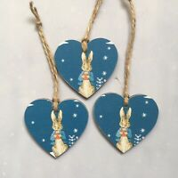 Peter Rabbit Wooden Hearts Christmas Tree Decoration, Gift Tags Handmade