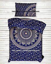 Bohemian Blue Gold Mandala Duvet Cover Indian Quilt Cover Cotton Bedding Set