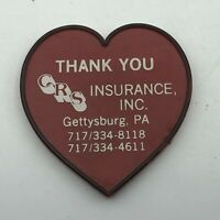 CRS Insurance Inc. Gettysburg PA Advertising Red Heart Refrigerator Magnet  Y2