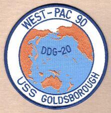 "USN Navy Patch:  Ship - USS Goldsborough DDG-20 WEST-PAC 90 - 5"""