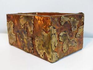 Brutalist Patchwork Copper and Brass Box Vintage Metal Sculpture Trinket Box MCM