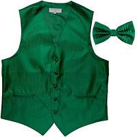New Men's Vertical stripes tuxedo Vest Waistcoat _bowtie emerald green formal