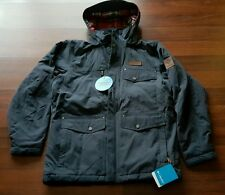 Columbia Canyon Cross Coat, sz. MED, India Ink, Flannel lined Hooded Mens New