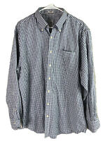 Peter Millar Nanoluxe Button Down Shirt Mens XL Blue Check LS Cotton **FLAW**