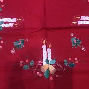 """Christmas Red Large Oval Tablecloth Embroidered Appliques Candles 126"""" by 72"""""""