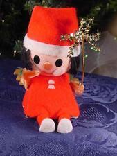 VINTAGE CHRISTMAS ORNAMENT Sitting Santa Elf TINSEL Snowflake Chenille arms MIJ