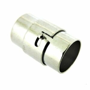 Kumihimo End Cap/ Magnetic Clasp (5 Sets) Silver/Platinum - Hole 10mm (FNCM1085)
