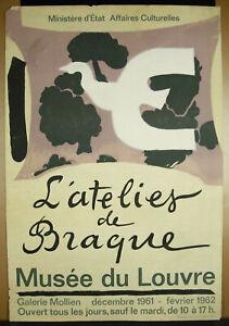 Poster Original WORKSHOP Georges Braque 1962 Galeire Mollien Museum Of Louv