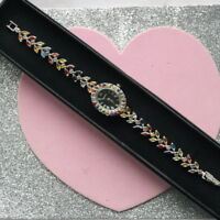 REAL SONGEA MULTI COLOR SAPPHIRE MARQUISE & ROUND STERLING 925 SILVER WATCH 6.75