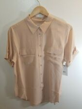 Equipment Slim Signature 100% Silk Short Sleeve Shirt Nude Sz Large NEW $198