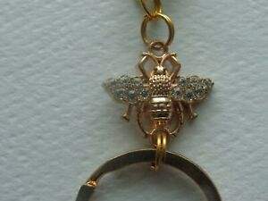 BEE GOLD & CRYSTALS BEE LOVERS BEADED LANYARD ID BADGE HOLDER NECKLACE