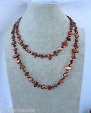 Naturale perle Collana Filo lungo madreperla,cristallo da donna,marrone