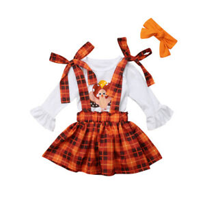 US Kids Baby Girl Thanksgiving Turkey Clothes Tops+Suspender Skirt Outfits