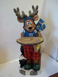 "Rodger The Reindeer Polyresin Butler Table 30"" Ornate Christmas Display"