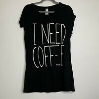 Forever 21 Womens Small Graphic Shirt Coffee T-shirt Tee Top Blouse Casual Boho