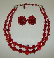 Vintage Red Austrian Crystal 2-Strand Choker Necklace Clip Earrings Set