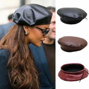 Women Hat Vintage PU Leather French Artist Beret Cap Fashion Painter Beanie Hat