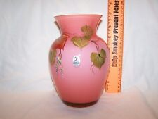 Fenton Coral Cased Autumn Leaves Vase Centennial Collection Shelley Fenton