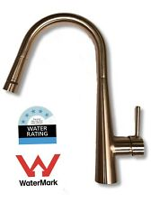 Watermark Brush Copper Rose Gold pull out kitchen mixer tap magnetic LED WELS