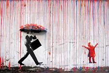 Banksy - Grumpy Umbrella Man & Happy Rainbow Rain Girl - A2 - LAMINATED Poster
