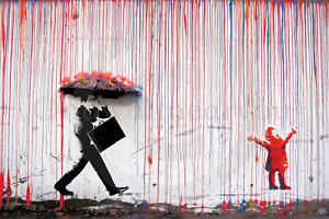 Banksy - Grumpy Umbrella Man & Happy Rainbow Rain Girl - A2 - LAMINATED Poster