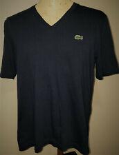 Lacoste L!VE Live Mens S/S T-Shirt Large (EUR 6) Navy Blue V-Neck