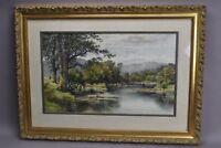 Benjamin Williams Leader Hand Tinted Lithograph 1899 River Landscape