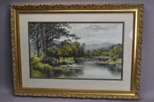 Benjamin Williams Leader Hand Tinted Lithograph 1899 River Landscape