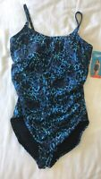 NWT SPEEDO Front Shirred Slimming One-Piece Swimsuit - Blue 16