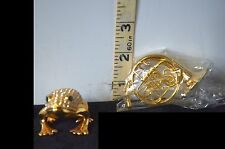 Bejeweled Golden Frog Trinket Box w/Magnetic Closure + French Horn Ornament