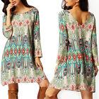 Women Boho Vintage V-Back Party Dresses Floral Long Sleeve Mini Dress Summer