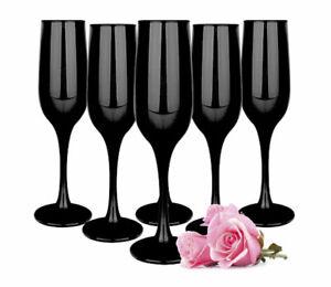 6 schwarze Sektgläser 200ml Sektkelche Champagner Prosecco Sektglas Proseccoglas