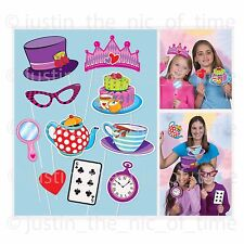 Mad Hatters Tea Photo Booth Selfie Props on Sticks Alice Birthday Party 10 Pcs