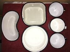 vintage enamelware white and black lot of 6 cups, bowls, etc