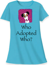 """Relevant animal design dog rescue blue cotton sleep shirt """"who adopted who"""""""