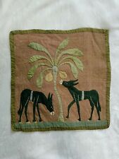 Antique Vtg 1940s Fabric Cloth Linen Wall Hanging Donkeys Mules Made In Egypt