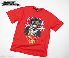 No Fear Boys Red White & Black Skull Cap Chain Graphic T Shirt Top Free UK Ship