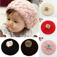 Cute Baby Kids Winter Warm Knitted  Beanie Hat Girls Toddler Crochet Beret Cap